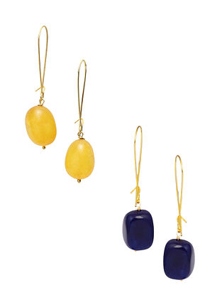 Blue Yellow Gold Plated Earrings (Set of 2)