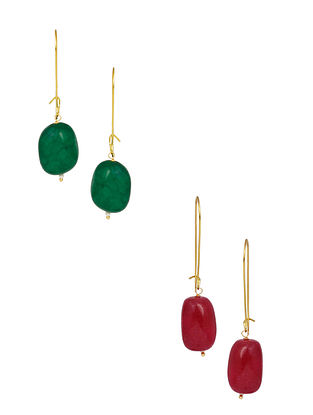 Green Red Gold Plated Earrings (Set of 2)