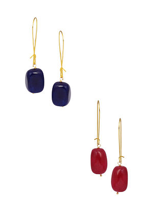 Blue Red Gold Plated Earrings (Set of 2)