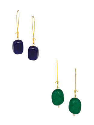Blue Green Gold Plated Earrings (Set of 2)