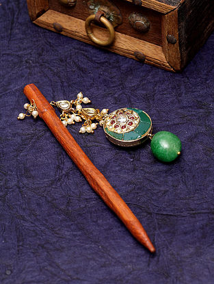 Green Gold Plated Kundan Wood Hair Pin