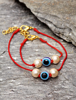 Red Thread Bracelet with Evil Eye (Set of 2)