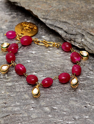 Red Gold Plated Handcrafted Kundan Bracelet