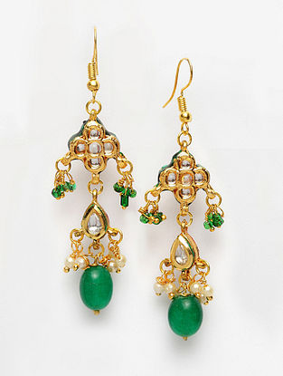 Green Gold Plated Handcrafted Kundan Earrings with Pearls
