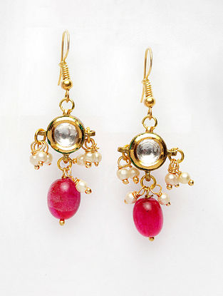 Red Gold Plated Handcrafted Kundan Earrings with Pearls