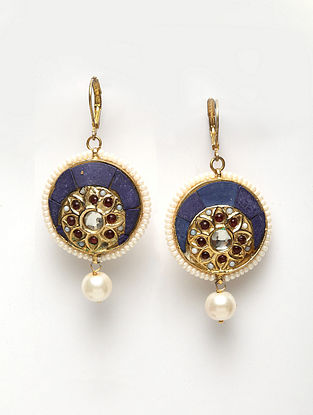 Blue Gold Plated Handcrafted Kundan Earrings with Pearls