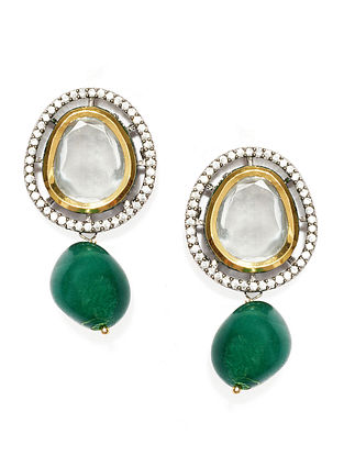 Green Gold Plated Handcrafted Kundan Earrings