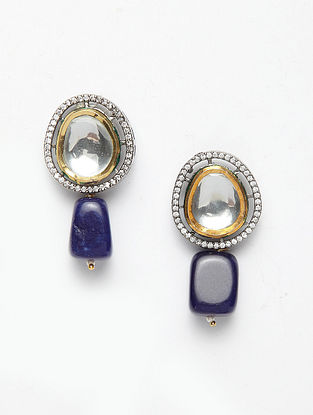 Blue Gold Plated Handcrafted Kundan Earrings