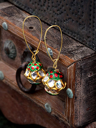 Green Red Gold Plated Handcrafted Kundan Earrings
