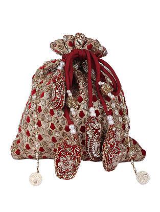 Gold Red Handcrafted Velvet Potli