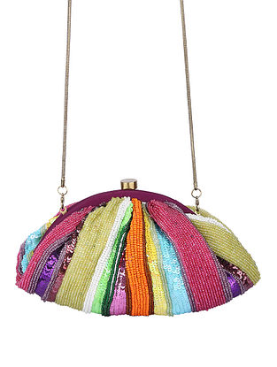 Multicolored Handcrafted Polyester Clutch