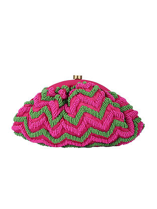 Pink Green Handcrafted Polyester Clutch