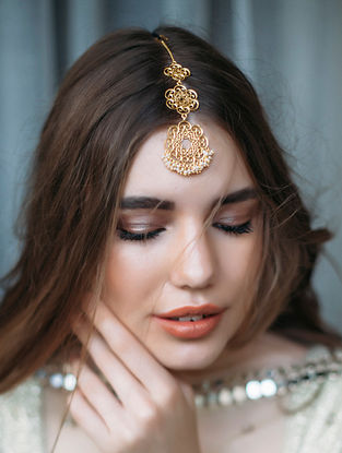Gold Plated Maang Tikka with Pearls