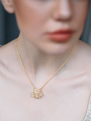Gold Plated Pendant and Chain with Pearls