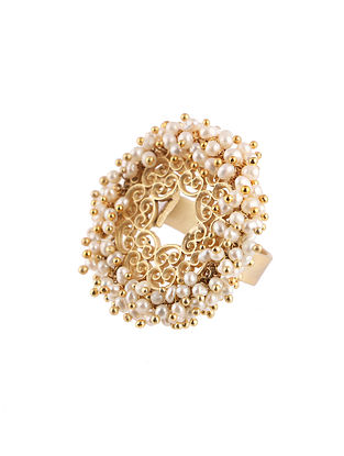 Gold Plated Adjustable Ring with Pearls