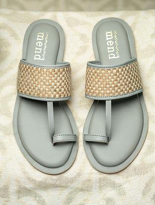 Beige Grey Jute Woven Faux Leather Kolhapuri Flats