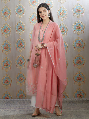 Pink Silver Foil Printed Cotton Chanderi Dupatta with Tassel Details