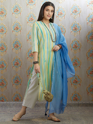 Blue Silver Foil Printed Cotton Chanderi Dupatta with Tassel Details