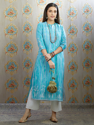 Blue Silver Foil Printed Organza Kurta with Hand Painted Cotton Lining