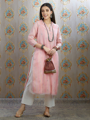 Pink Zari Embroidered Organza Kurta with Hand Painted Cotton Lining
