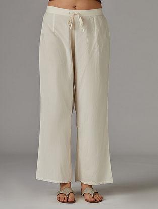 Ivory Silver Foil Printed Cotton Pants