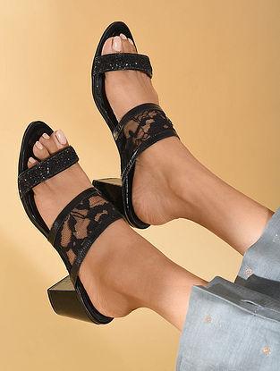 Black Handcrafted Block Heels