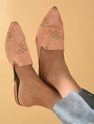 Beige Handcrafted Polyester Mules