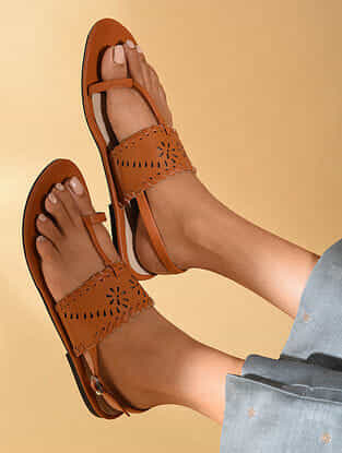 Tan Handcrafted Polyester Sandals