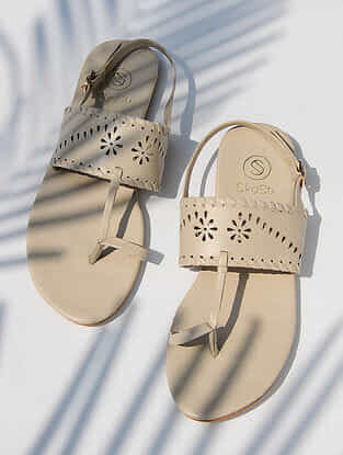 Cream Handcrafted Polyester Sandals