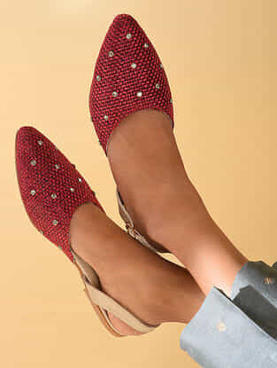 Red Handcrafted Mules