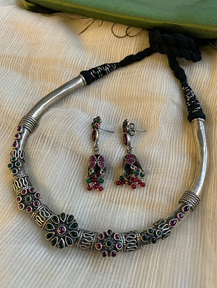 Maroon Greeen Tribal Silver Necklace With Earrings