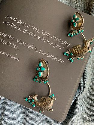 Turquoise Tribal Silver Earrings