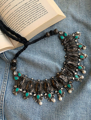 Turquoise Tribal Silver Necklace With Pearls