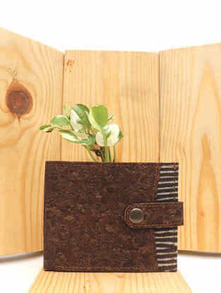 Brown Handcrafted Dabu Printed Vegan Leather Wallet for Men