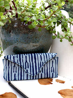 Indigo Handcrafted Dabu Printed Canvas Spectacle Case