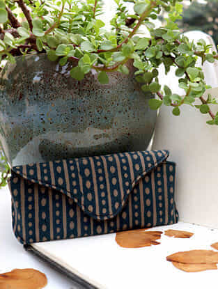Dark Green Handcrafted Dabu Printed Canvas Spectacle Case