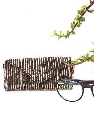 Brown Handcrafted Dabu Printed Canvas Spectacle Case