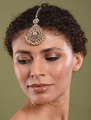 Gold Tone Pearl Beaded Kundan Inspired Maangtikka