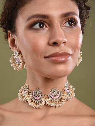 Pink Gold Tone Kundan Enameled Necklace And Chandbali Earrings With Pearls