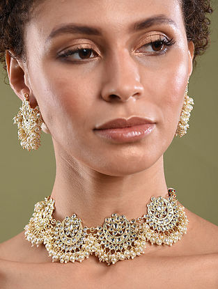 Gold Tone Kundan Pearl Beaded Necklace With Earrings
