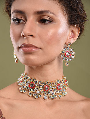 Gold Tone Kundan Enameled Necklace And Earrings With Pearls