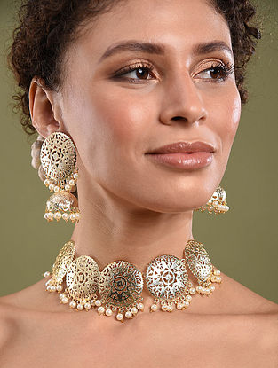Gold Tone Handcrafted Necklace And Jhumki Earrings With Pearls