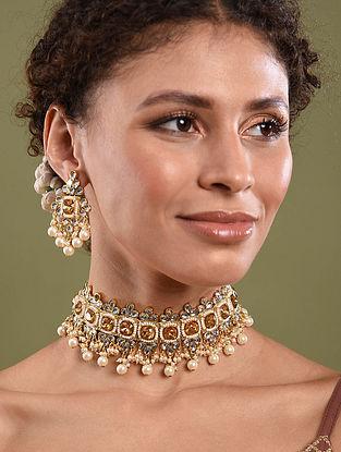 Yellow Gold Tone Kundan Beaded Necklace With Earrings