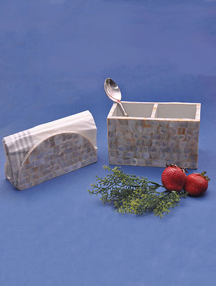 Ivory Handcrafted MDF and Mother of Pearl Tissue and Cutlery Holder (L - 15cm, W - 8cm, H - 9cm)