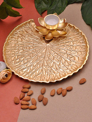 Lotus Gold Handcrafted Iron with Nickle Plating Platter (Dia - 10in, H - 2.5in)