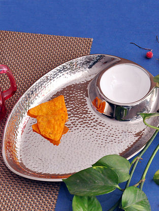 Silver Handcrafted Metal with Gold Electroplating Dip Platter (L - 12in, W - 9in, H - 1.5in)