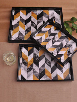Chevron Marble Multicolor Handcrafted MDF Wood Trays (Set of 3)