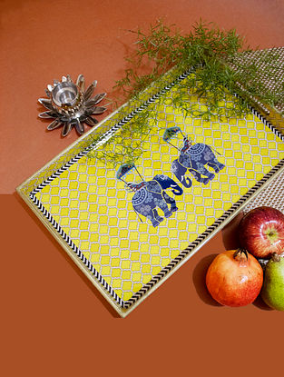 Royal Elephant Yellow Handcrafted MDF Wood Tray (L - 16in, W - 10in, H - 1.5in)