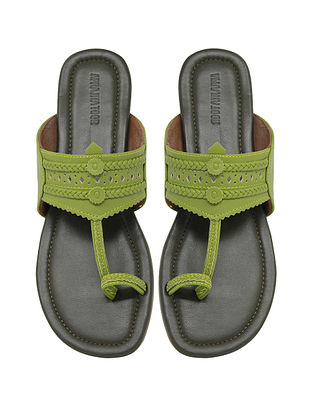 Green Handcrafted Leather Kolhapuri Flats