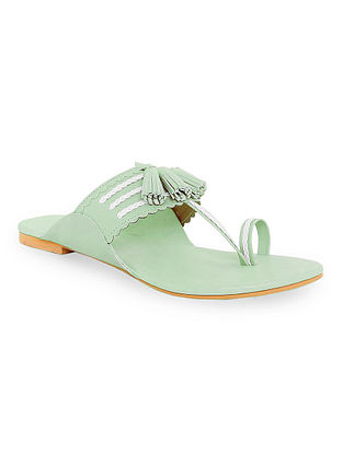 Mint Green Handcrafted Faux Leather Kolhapuri Flats